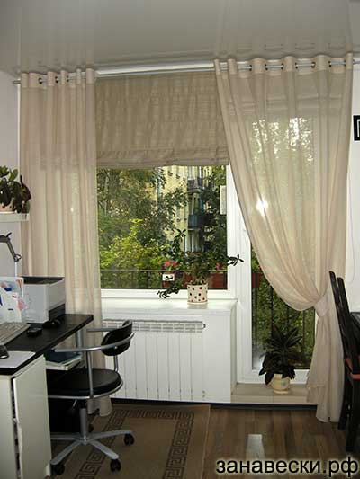 шторы на петлях на кухню фото