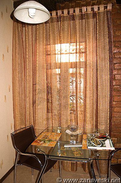 шторы из сетки на кухню фото